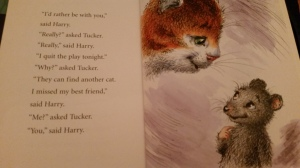 "From ""Harry Cat and Tucker Mouse: Starring Harry,"" by Thea Feldman, illustrated by Olga and Aleksey Ivanov, Based on the books by George Selden and Garth Williams, New York : Square Fish, 2011."